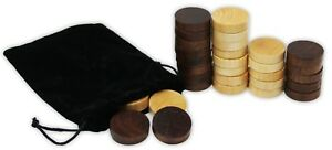 1.25 inch Wood Backgammon or Checkers pieces - 30 pieces with Bag