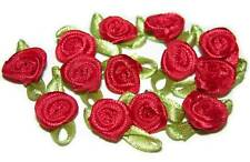 100 rose flower ribbon satin appliques trim lot red