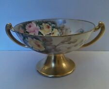 Beautiful Antique Hand painted pedestal fruit bowl,  Artist signed
