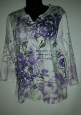 ALLISON DALEY Polyester pull over top with purple flowers and sayings