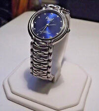 Mens Acuet Water Resistant Silver Watch. Deep Sapphire Blue Dial. New Battery.