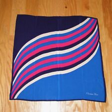 Christian Dior Silk Scarf Striped Blue Pink Vintage 27""