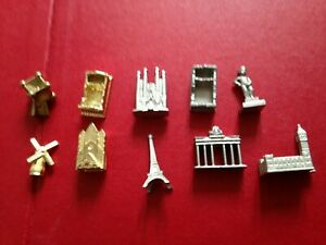 Waddingtons European Monopoly Spare Replacement Gold Silver Tokens Pieces