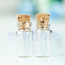 50X Tiny Small Clear Glass Bottle Tube Sample Vials with Wood Caps 11X22mm EW