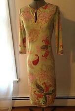 Dress Size 6 Etro 44 Cling Jersey Pale Green Cocktail Spring Dress Pink Floral