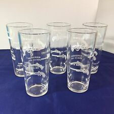 Set of 5 Vtg Drinking Glasses Firearm Flintlock Pistols Guns Barware Graphics