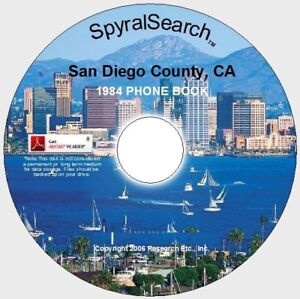 CA - San Diego California 1984 Phone Book CD - Searchable