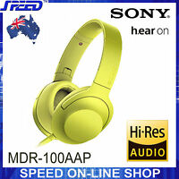 SONY MDR-100AAP h.ear on Hi-Res Stereo Headphones - Lime Yellow