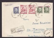 Poland 1951 Register cover 5 & 15 GROSZY overprints internal mail from Myslowice
