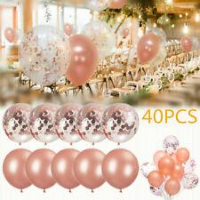Birthday Wedding Baby Shower Party Rose Gold Confetti 40pcs Latex Balloons Set