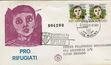 143542 BUSTA PRIMO GIORNO FIRST DAY FDC  san marino pro rifugiati