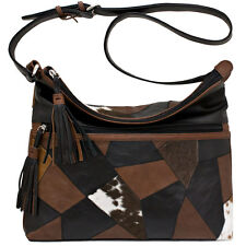 ILI New York Patchwork Adjustable Shoulder / Crossbody Leather Purse