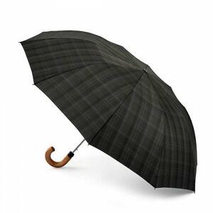 Fulton Dalston-2 Charcoal Check Mens Wide Canopy Auto Compact Umbrella