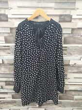 WOMENS ZARA BLACK FLORAL BUTTON UP UP ALL IN ONE PETITE LONG SLEEVE PLAYSUIT 8