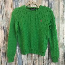 Vintage Classic Ralph Lauren Green Cable Knit Sweater Pink Polo Detail Sz Medium