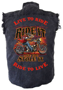 Mens Ride It Like You Stole It Motorcycle Acid Washed Denim Cutoff Biker Shirt