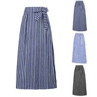 Women Retro Elastic High Waist Maxi Long Dress Skirts Cotton Striped Skirt S-2XL