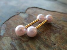 Faux Pink Pearl Gold Bars Full Set Barbell Nipple Piercings Tongue Rings