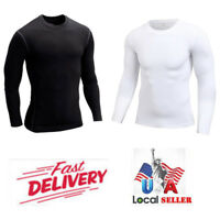 Men Compression T- Shirt Base Layer Tight Thermal Sports Long Sleeve Stretch Top