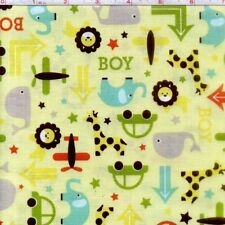 Oh Boy Main Cars Planes and Fish Yellow 100% cotton fabric by the yard
