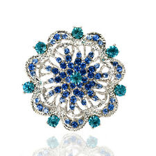 Vintage Style Turquoise Blue Rhinestones Flower Shaped Evening Brooch Pin BR357