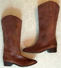 FRYE Women's RAY Western COWBOY Pull On BOOTS Leather Cognac BROWN 8-1/2 8.5 EUC