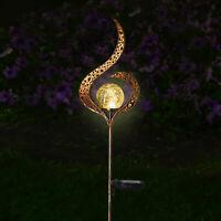 Solar Powered Full Moon LED Glass Globe Stake Light Garden Lawn Outdoor Lamp UK