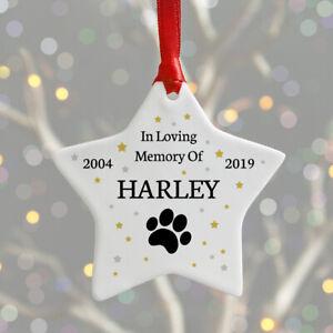 Personalised Pet Remembrance Ceramic Christmas Keepsake Bauble DOG CAT Memorial
