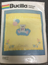 "NIP Vintage Bucilla Baby Quilt Kit Applique Blanket Bears and Balloons 38"" x 45"