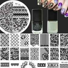 Nagel Kunst Stamping 2X Schablone Platte & Schwarz/Weiß Stempellack Nagellack