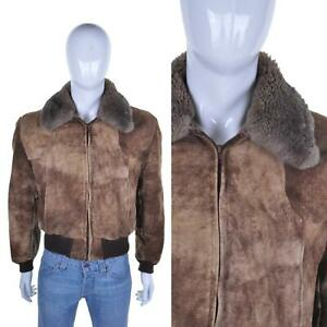 VTG 70s Fur Collar Suede Flying Jacket XL Leather Pilot Aviator Bomber Biker