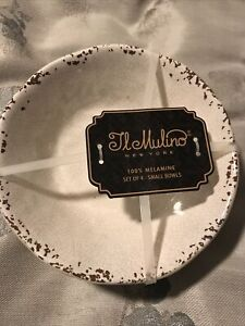 Il Mulino Beige Crackle MELAMINE Salad Dessert Bowls  Set 4 New