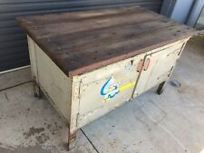 Vintage Industrial Workbench heavy steel frame with attractive solid timber top
