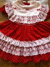 Vintage Fancy Girl Red White Polka Dot Ruffle Lace Frilly Party Dress Size 5