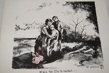 LITHOGRAPHIE LE PESQUEUX SIGNEE LES DESEMPARES DEBACLE 1940 GUERRE 39-45