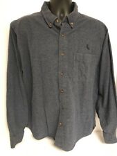 Woolrich XL Navy L/S Cotton Tweed-Feel Shirt Button Front Pocket With Logo Warm