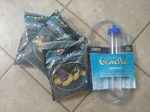 New Lee's Siphon Aquarium Gravel Cleaner and 15.8 lbs Black Safe Aquarium Gravel