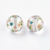 5x Round Clear Flower Painted Glass Beads Crafts Jewellery Making 8x9mm Hole 1mm