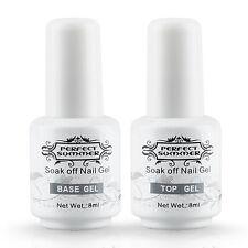 2PCS Perfect Summer Top Coat + Base Gel Nail Art Polish 8ml UV LED Couleur Clear