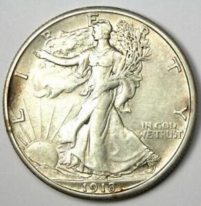 1918-S Walking Liberty Half Dollar 50C Coin - AU Details - Rare Date!
