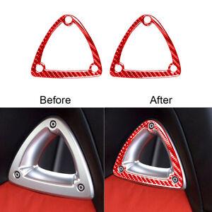 2Pcs For Mazda RX-8 2004-08 Red Carbon Fiber Seat Headrest Decorative Cover Trim
