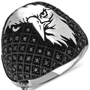 Solid 925 Sterling Silver Eagle Design Micro Black Zircon Stone Men's Ring
