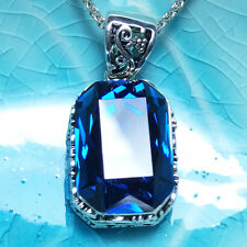 Vintage Blue Radiant Sapphire Pendant Chain Necklace 14k White Gold Gift WBP34