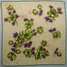 Vtg 50s 60s 100% Silk Scarf Hand Rolled Edge Painterly Floral Purple Green 31x31