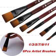 Fine 6Pcs Nylon Acrylic Oil Paint Brushes For Art Artist Supplies Watercolor Set