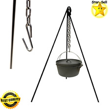 Cast Iron Cooking Tripod Outdoor Camping Campfire Picnic Pot Holder Stand Steel