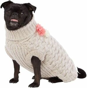 NWT Top Paw Dog Sweater Size XLarge XL Cable Knit Pullover Flowers Cream - NEW!