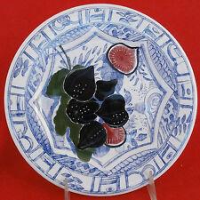 """GIEN Oiseaux Bleu Fruit Dessert/Salad Plate FIG 8.75"""" NEW NEVER USED France"""