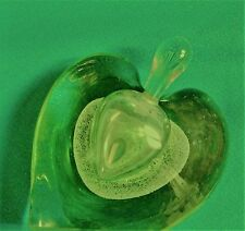 """Lime Green Crystal Heart or Apple Shaped Perfume Bottle for Oil, 3.75"""" Tall"""