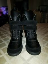 MONIKA CHIANG Artemys High Top Wedge Sneaker/Trainer Black Leather/Suede 38.5